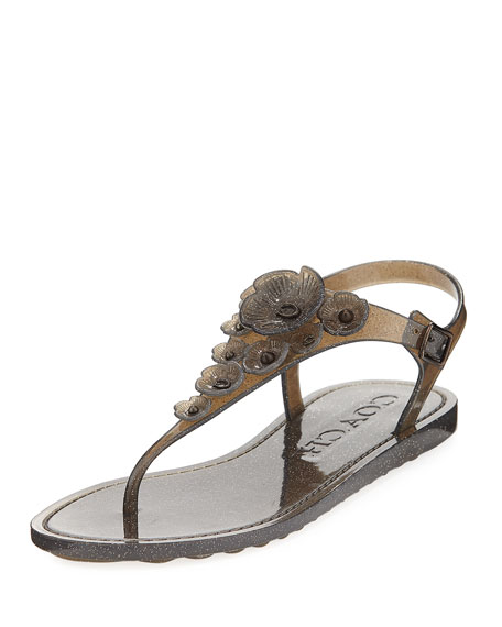 Coach Tea Rose Jelly Flat Sandal, Black