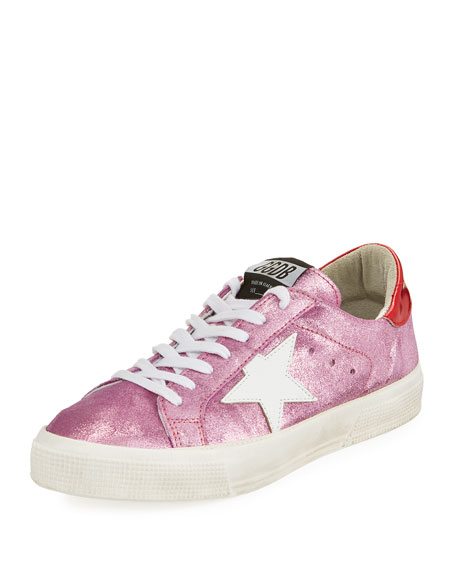 Golden Goose May Glitter Suede Low-Top Sneakers