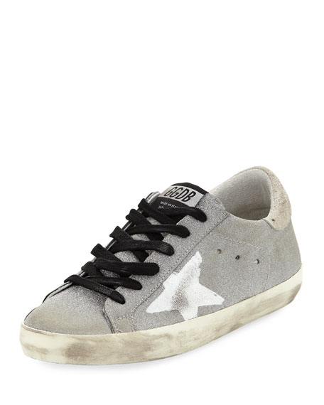Golden Goose Silver Glitter Star & Flag Superstar Sneakers