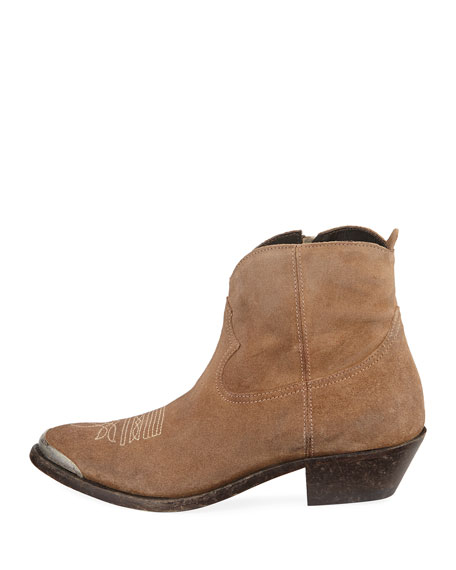 Young Suede Stitched Western Booties