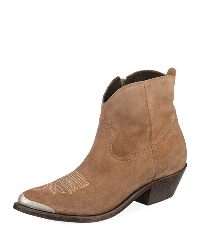 Young Suede Stitched Western Bootie