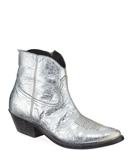 Young Metallic Crackled Western Bootie