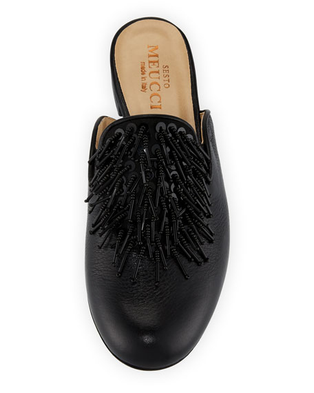 Kala Embellished Leather Slide Mule