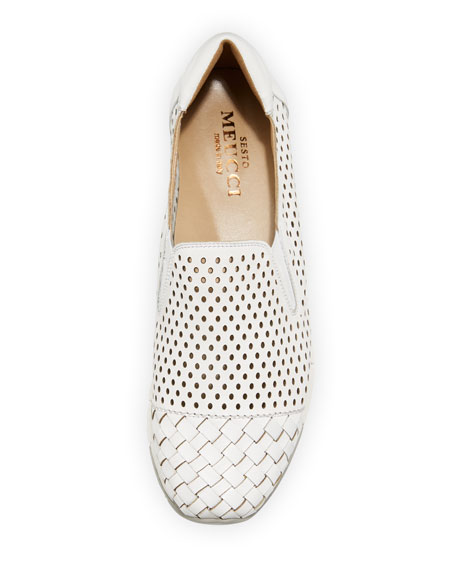 Caria Woven Perforated Sneakers, White