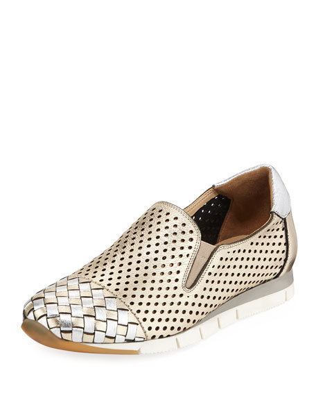 Sesto Meucci Caria Woven Perforated Metallic Sneakers