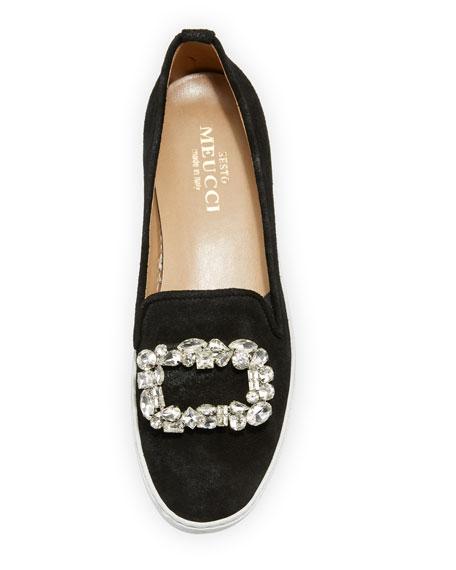 Fan Suede Ornament Sneaker, Black