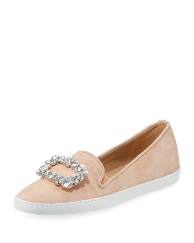 Fan Suede Ornament Sneaker, Peach