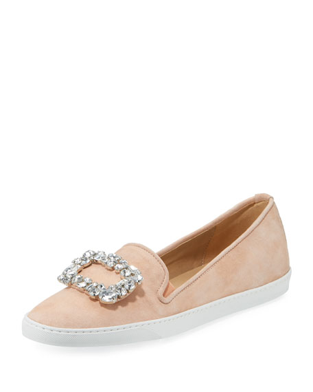 Fan Suede Ornament Sneakers, Peach