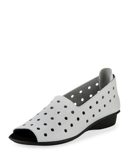 Sesto Meucci Edwina Perforated Open-Toe Slip-On, White
