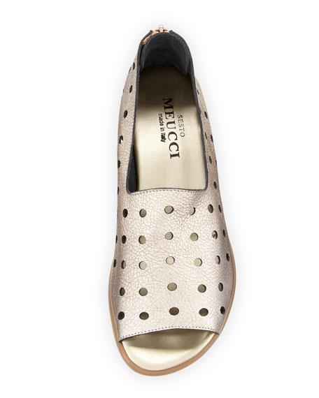 Edwina Perforated Metallic Slip-On, Platino