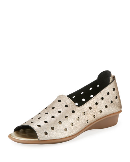Sesto Meucci Edwina Perforated Metallic Slip-On, Platino