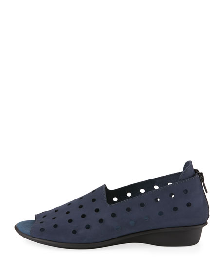Edwina Perforated Nubuck Slip-On, Navy