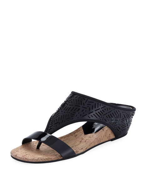 Donald J Pliner Darin Laser-Cut Demi-Wedge Sandal, Black
