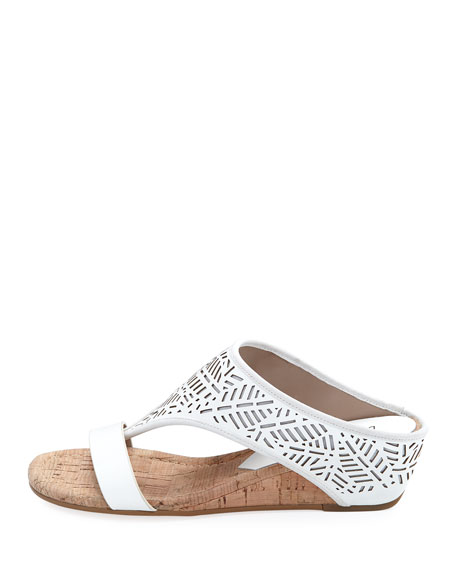 Darin Laser-Cut Demi-Wedge Sandals, White