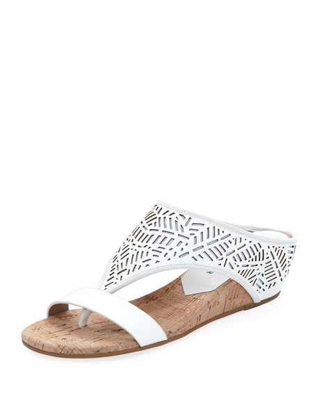 Donald J Pliner Darin Laser-Cut Demi-Wedge Sandal, White