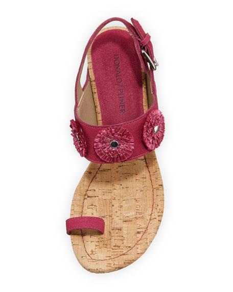 Gilly Floral Cork-Wedge Sparkle Suede Sandal