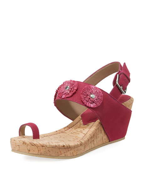 Donald J Pliner Gilly Floral Cork-Wedge Sparkle Suede