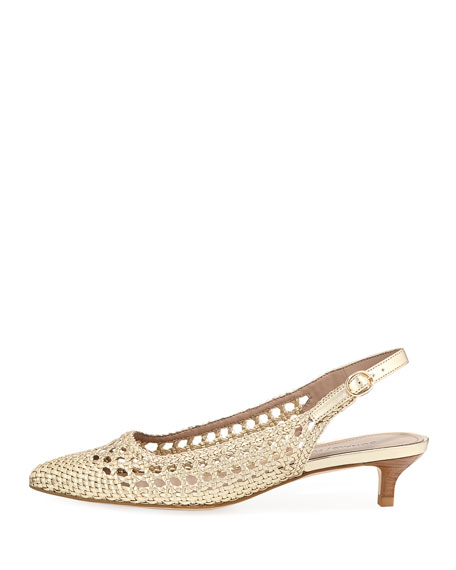 Ike Woven Metallic Leather Kitten-Heel Pumps