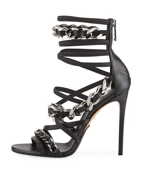 Diva Chain-Trim Strappy Sandal