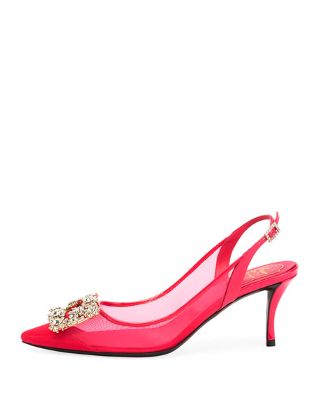 Strass Mesh Slingback Pumps