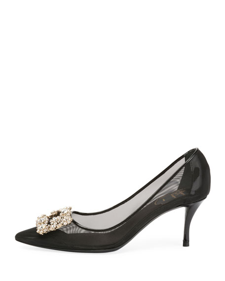 65mm Strass Mesh Pumps