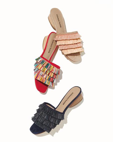 Reise Raffia Fringe Low Slide Sandal