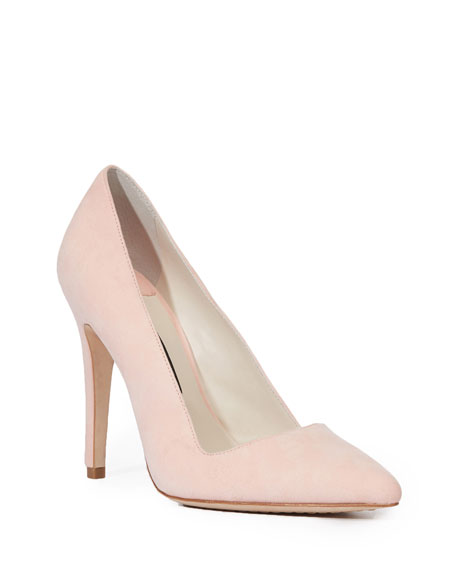 Dina 95 Whipstitch Pointy Toe Pump in Perfect Pink Suede