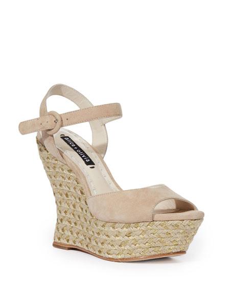 Alice + Olivia Jana Suede Wedge Platform Sandal