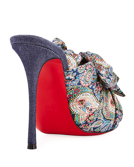 Moniquissima Paisley Red Sole Slide Sandal