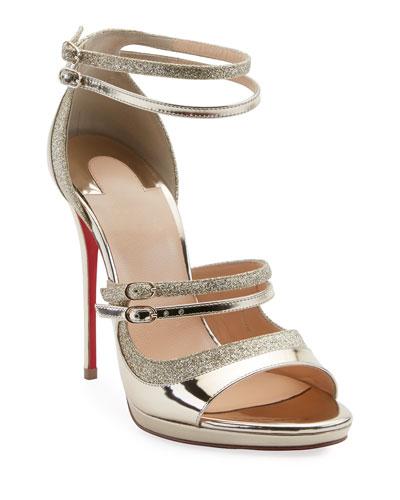 64db00bfc513 Christian Louboutin Choca Lux 120mm Metallic Fabric Red Sole Sandals ...