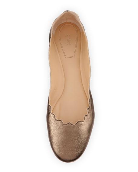 Scalloped Leather Ballerina Flat