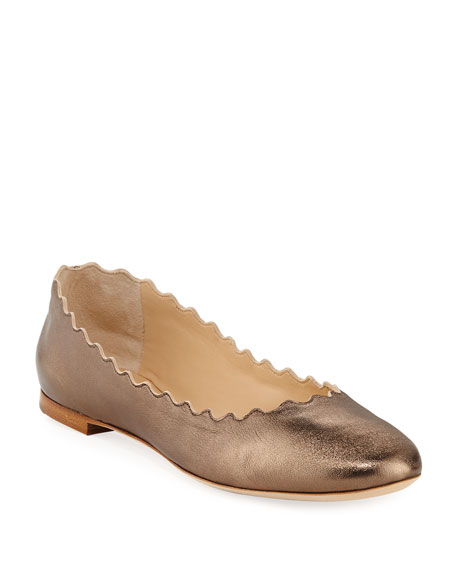 Scalloped Leather Ballet Flat