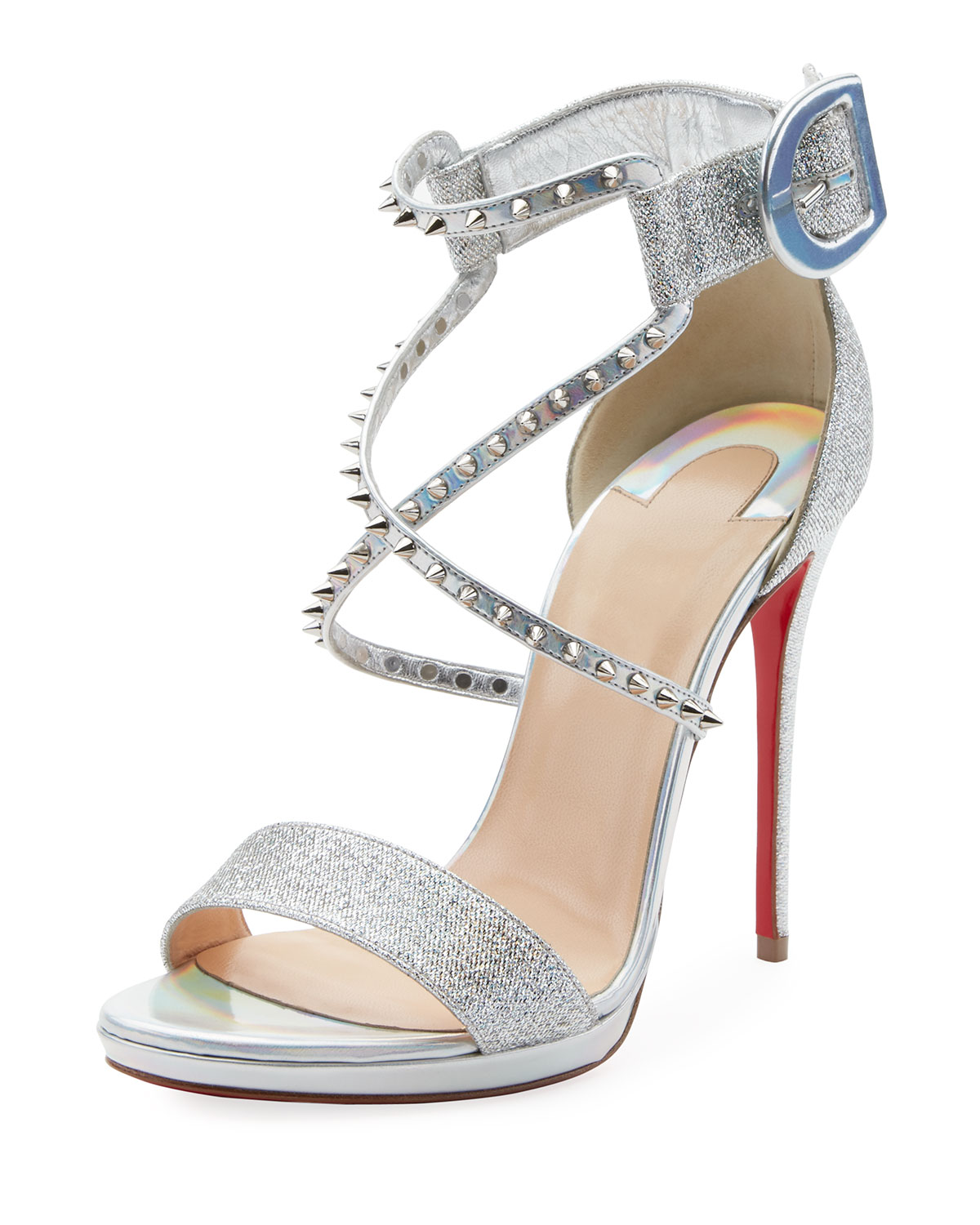 timeless design b4187 b7fea Choca Lux 120mm Metallic Fabric Red Sole Sandal