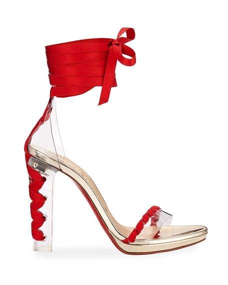 Tornade Blonde Wraparound Red Sole Sandal