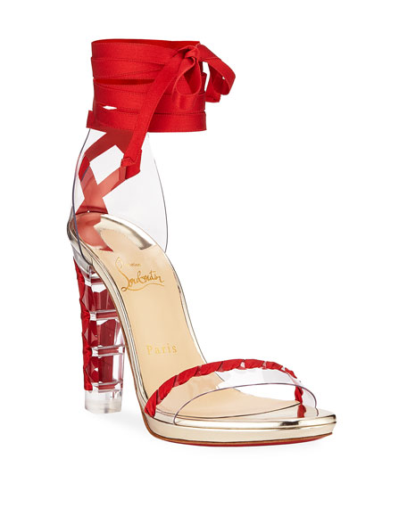Christian Louboutin Tornade Blonde Wraparound Red Sole Sandal