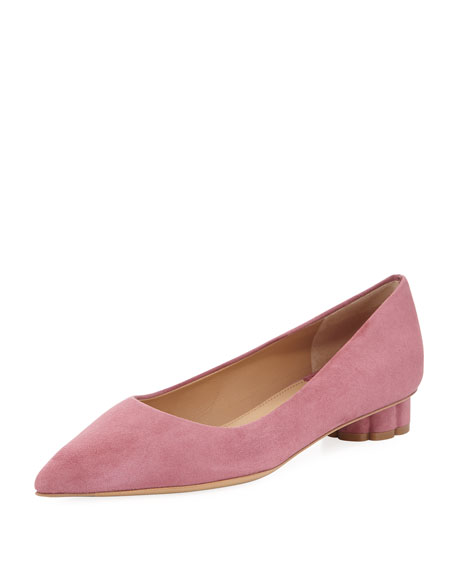 Suede Pointed-Toe Skimmer Flat with Flower Heel