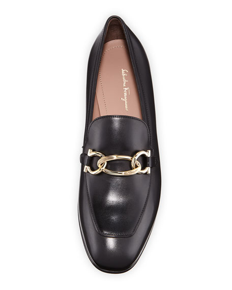 Chain Leather Slip-On Flat Loafer