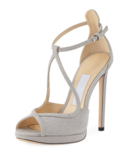 Jimmy choo Fawne Shimmer Suede Open-Toe Pumps 7k1shcn
