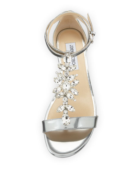 Averie Flat Liquid Metallic Leather Sandal