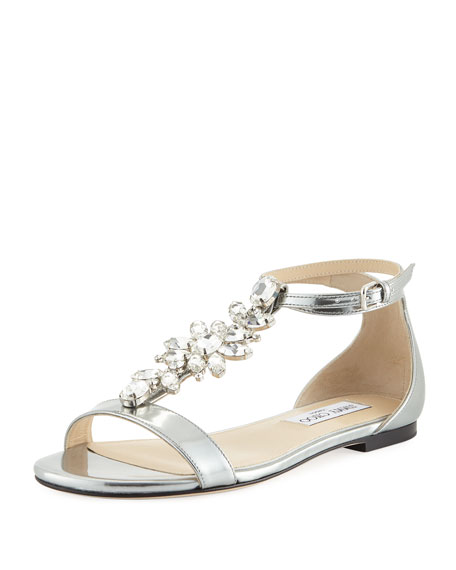 Jimmy Choo Averie Flat Liquid Metallic Leather Sandal