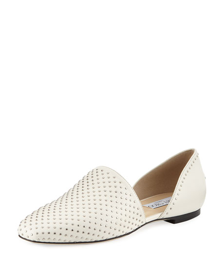 Jimmy Choo Globe Two-Piece Studded Leather Flat