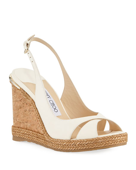 Jimmy Choo Amely 105mm Leather Cork Wedge Sandal