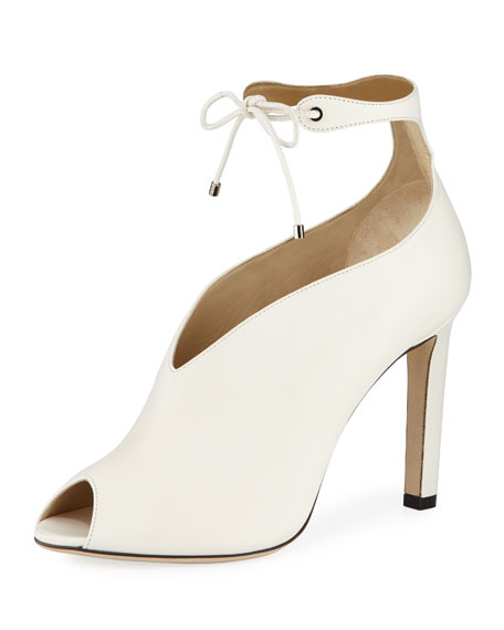 Jimmy Choo Sayra Leather 100mm Peep-Toe Booties
