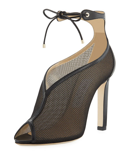 Jimmy Choo Sayra Mesh Ankle-Tie Booties