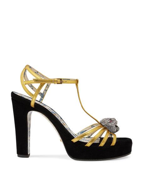 Gucci Elias 85mm Velvet Platform Sandal