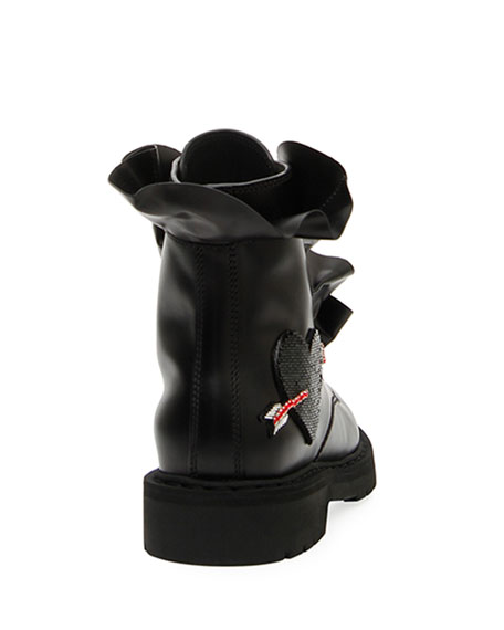 Love Calf Leather Combat Boot with Ruffles & Heart