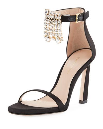 100FRINGESQUARENUDIST Satin Embellished Fringe Sandals