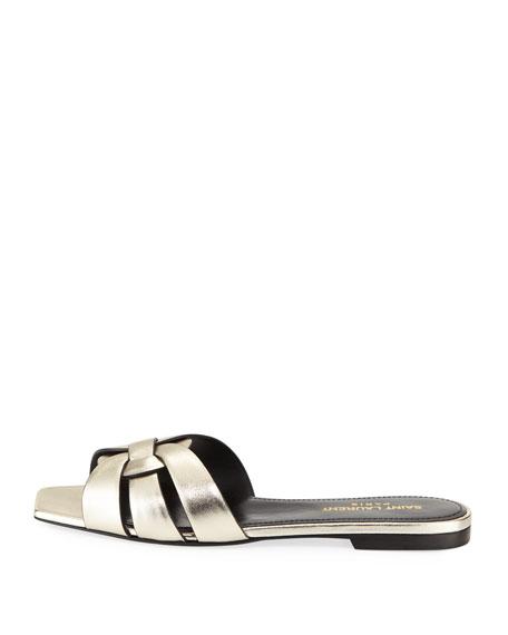Nu Pieds Flat Metallic Leather Slide Sandal
