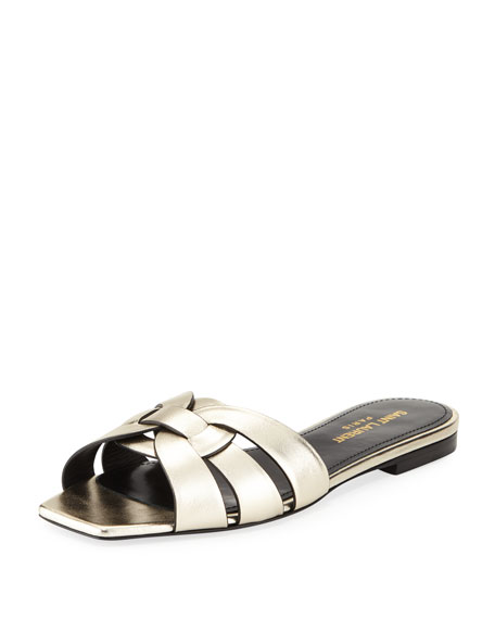 Saint Laurent Nu Pieds Flat Metallic Leather Slide