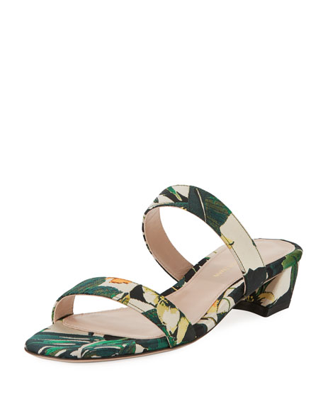 Stuart Weitzman Ava Low-Heel Metallic Leather Slide Sandal t2TDE